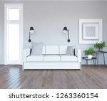 idea of a white scandinavian... | Shutterstock . vector #1263360154