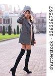 beautiful fashionable stylish...   Shutterstock . vector #1263367597