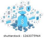 money bag with cash money... | Shutterstock .eps vector #1263375964