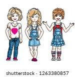 beautiful happy little girls... | Shutterstock .eps vector #1263380857