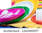 set of plastic disposable... | Shutterstock . vector #1263400597