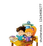 cartoon kids learning on white... | Shutterstock . vector #1263408277