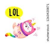 cute cartoon vector doodle cat. ... | Shutterstock .eps vector #1263420871