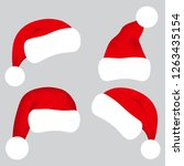 santa claus hat collection ... | Shutterstock .eps vector #1263435154