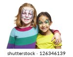 young girls with face painting... | Shutterstock . vector #126346139