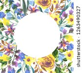 vintage watercolor floral round ... | Shutterstock . vector #1263490327