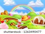 sweet candy land. cartoon game... | Shutterstock .eps vector #1263490477