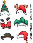 cartoon christmas hats. vector... | Shutterstock .eps vector #1263491794