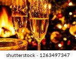 champagne glasses on the... | Shutterstock . vector #1263497347