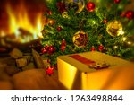 christmas gift box with red... | Shutterstock . vector #1263498844