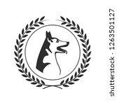 dog head symbol in a laurel... | Shutterstock . vector #1263501127
