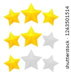 Three star rating. Different ranks from one to three stars. Golden embossed and gray transparent stars. Vector, isolated, eps 10.
