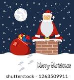 cartoon funny santa claus on... | Shutterstock . vector #1263509911