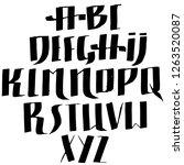 grunge old pen gothic font.... | Shutterstock .eps vector #1263520087