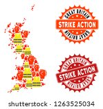 strike action collage of... | Shutterstock .eps vector #1263525034