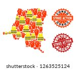 strike action collage of... | Shutterstock .eps vector #1263525124