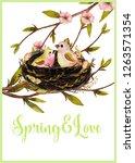 watercolor spring premade card... | Shutterstock . vector #1263571354