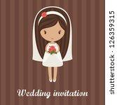 romantic cartoon bride holding... | Shutterstock .eps vector #126359315