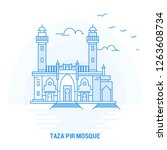 taza pir mosque blue landmark....   Shutterstock .eps vector #1263608734