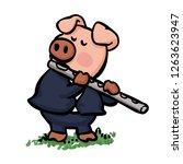 pig playing flute cartoon   Shutterstock .eps vector #1263623947