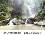mahua waterfall is a plunge... | Shutterstock . vector #1263636397