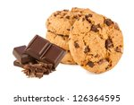 chocolate cookies with chocolate in front of white background - stock photo