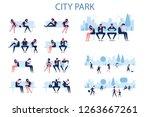 modern city life. flat... | Shutterstock .eps vector #1263667261