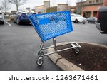 Empty Blue Shopping Cart On The ...