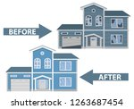 house before and after repair.... | Shutterstock .eps vector #1263687454