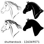 Stock vector vector illustration of horse head clip art set 126369071