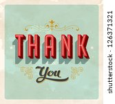 Vintage Thank You Card   Vecto...