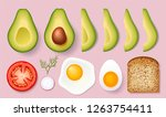 set for cooking delicious toast ... | Shutterstock .eps vector #1263754411