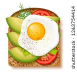 avocado toast with fresh slices ... | Shutterstock .eps vector #1263754414