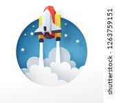paper art of space shuttle... | Shutterstock .eps vector #1263759151