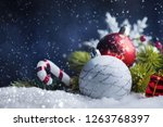 christmas balls with tree and... | Shutterstock . vector #1263768397