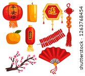 collection of chinese new year... | Shutterstock .eps vector #1263768454