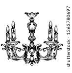 baroque chandelier vector.... | Shutterstock .eps vector #1263780697