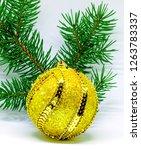 golden shiny ball on the... | Shutterstock . vector #1263783337