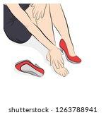 girl sitting rubs her legs. leg ... | Shutterstock .eps vector #1263788941