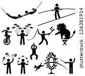 circus performers acrobat stunt ... | Shutterstock .eps vector #126381914