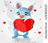 cute little bunny holds a soft... | Shutterstock .eps vector #126382025