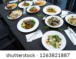 mix various seafood  spaghetti  ... | Shutterstock . vector #1263821887