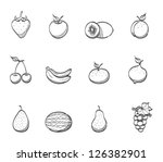 fresh fruit icons in sketch | Shutterstock .eps vector #126382901