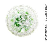 circle of soap bubbles of green ... | Shutterstock . vector #1263861034