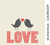 couple of birds and hearts... | Shutterstock .eps vector #126386309