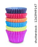 set of colorful cupcakes paper... | Shutterstock . vector #1263949147