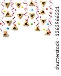 triangular cookies with poppy... | Shutterstock . vector #1263966331