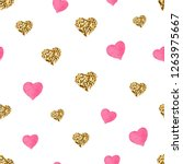 pink and gold glitter hearts... | Shutterstock .eps vector #1263975667