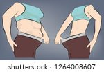woman's body before and after... | Shutterstock .eps vector #1264008607