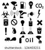 set of black icons  pollution ... | Shutterstock .eps vector #126403211